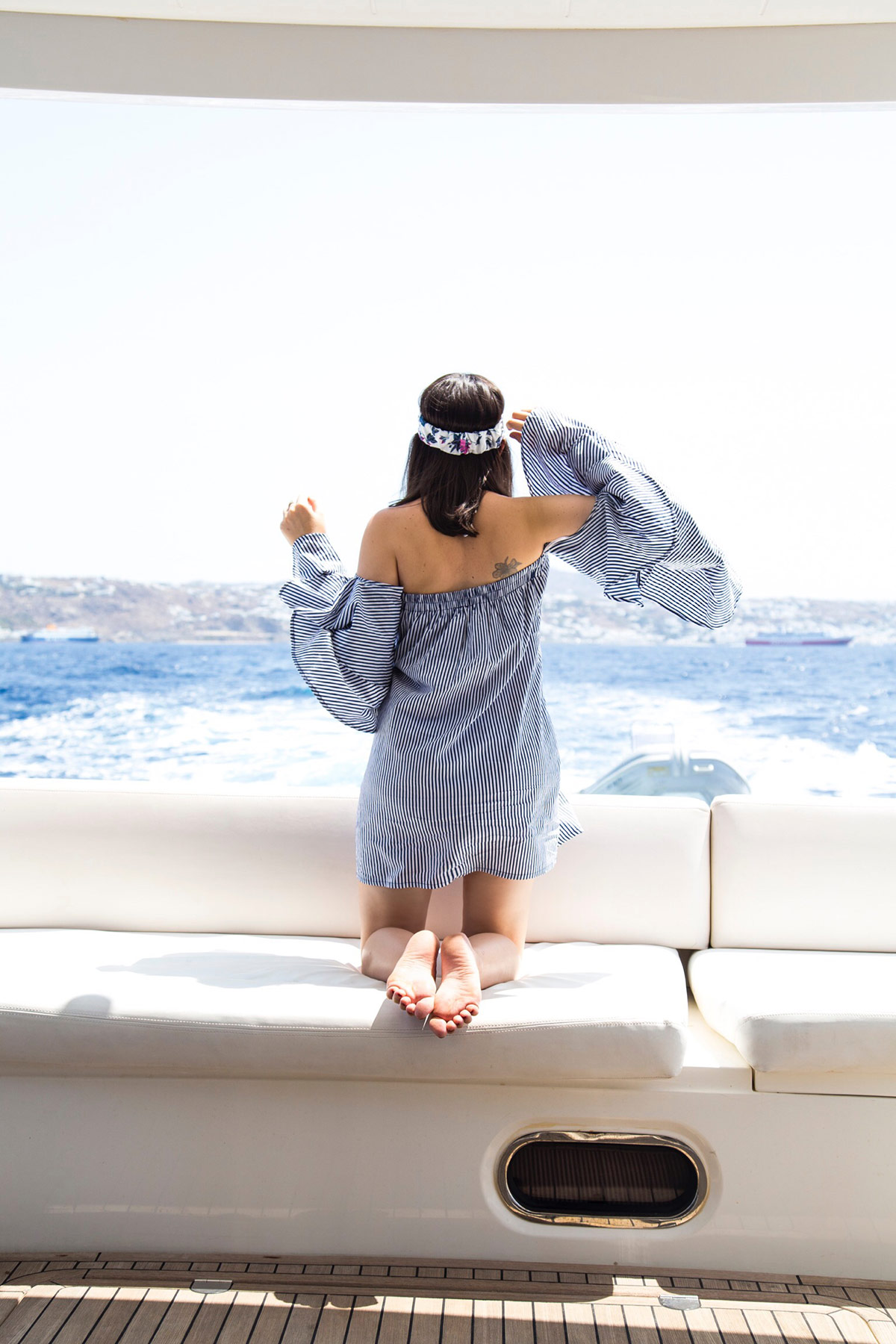 Yachting In Style with off-the-shoulder striped dress look by Stella Asteria - Fashion & Lifestyle Blogger