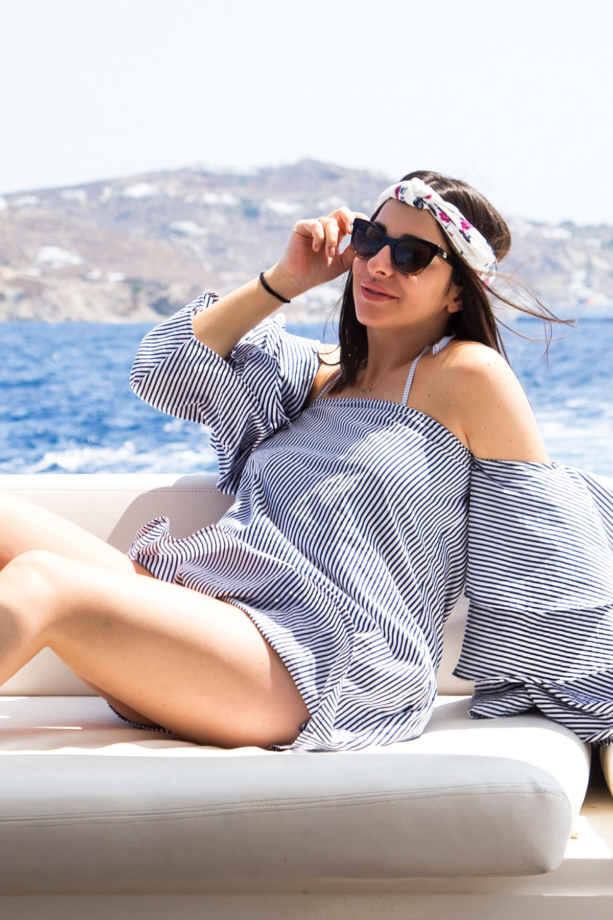 Boat Tripping In Style With Off-The-Shoulder Striped Dress