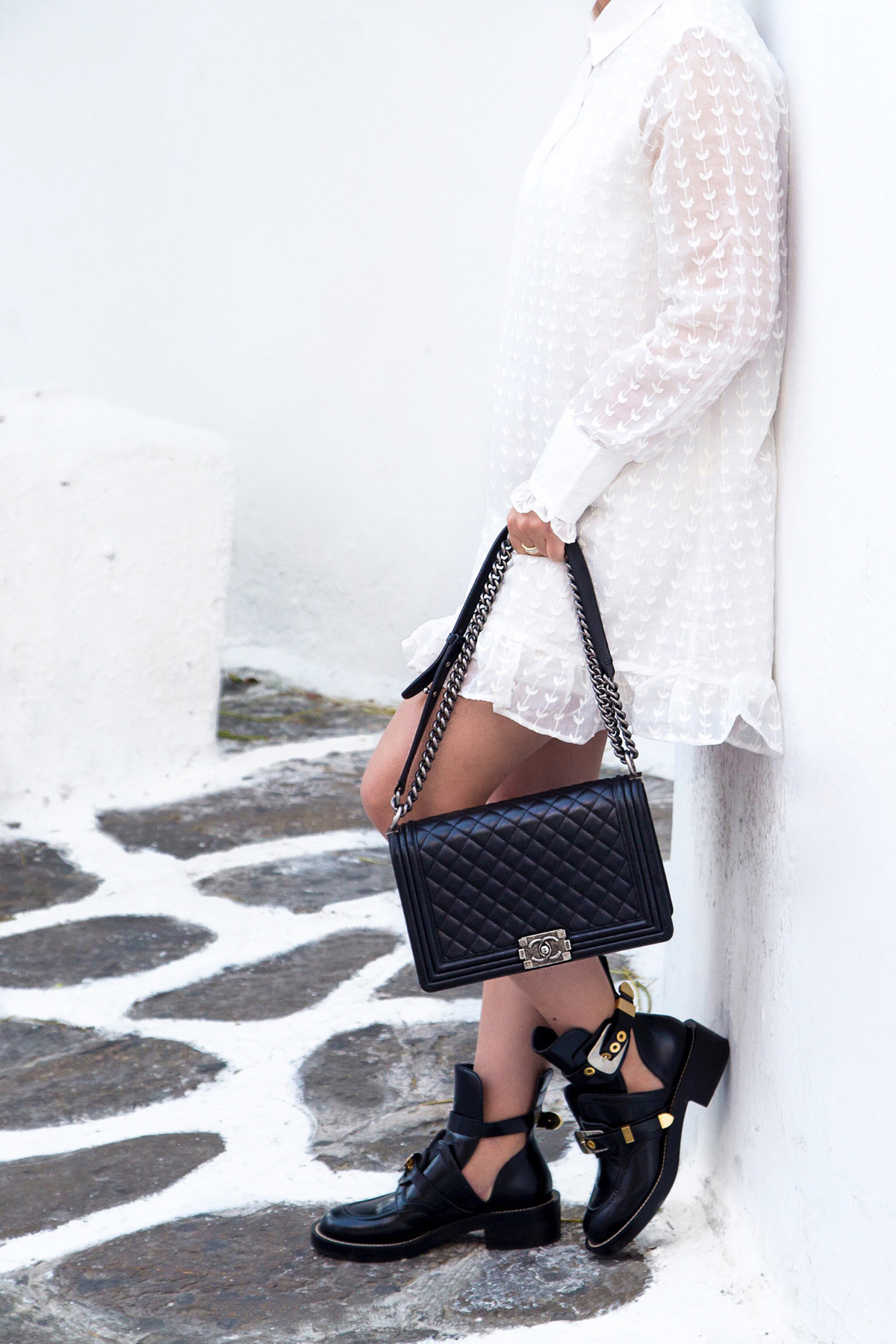 Chanel Boy Bag & Balenciaga cut-out ankle boots by Stella Asteria - Fashion & Lifestyle Blogger