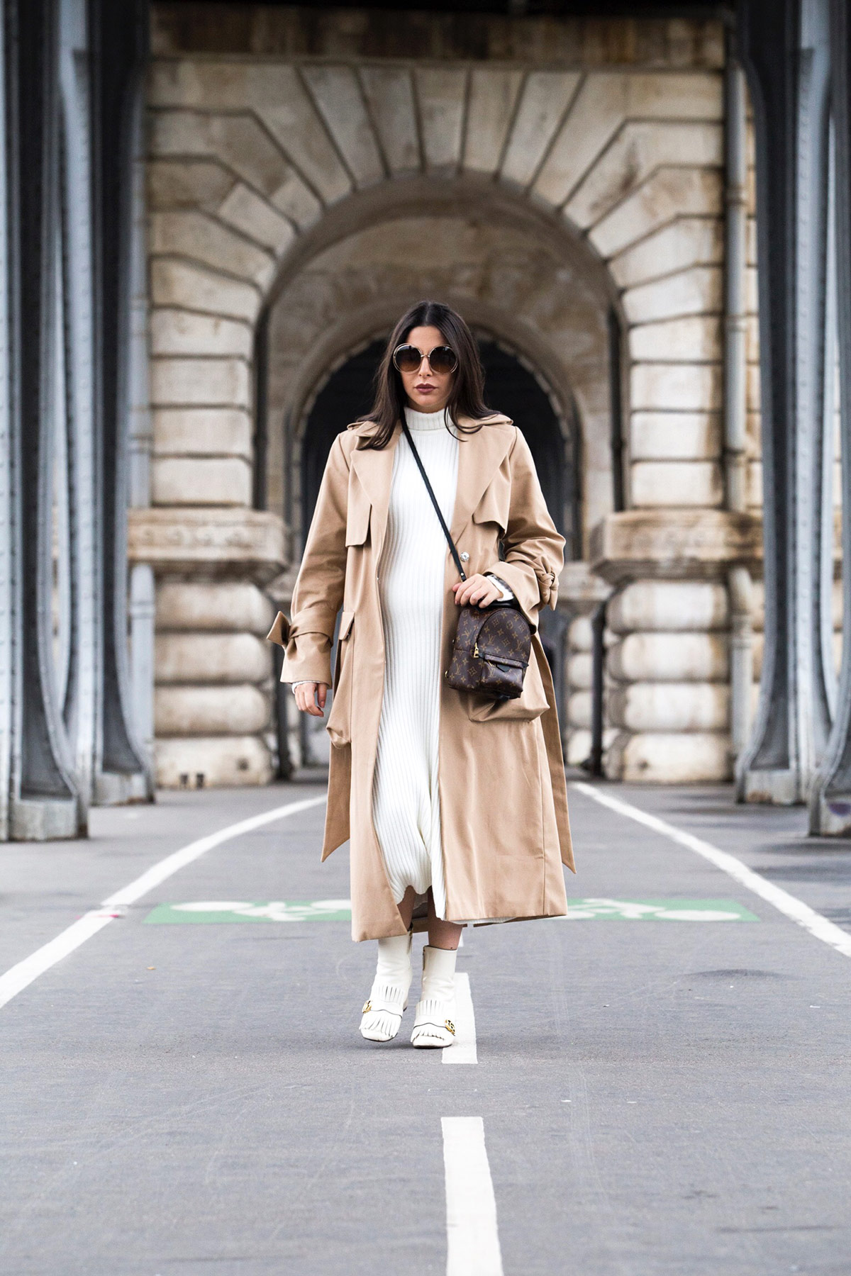 Maje ecru turtleneck dress for fall worn with camel trench coat, Gucci Marmot boots and Louis Vuitton palm springs backpack by Stella Asteria - Fashion & Lifestyle Blogger in Paris - Paris Street Style & Pregnancy Style inspiration