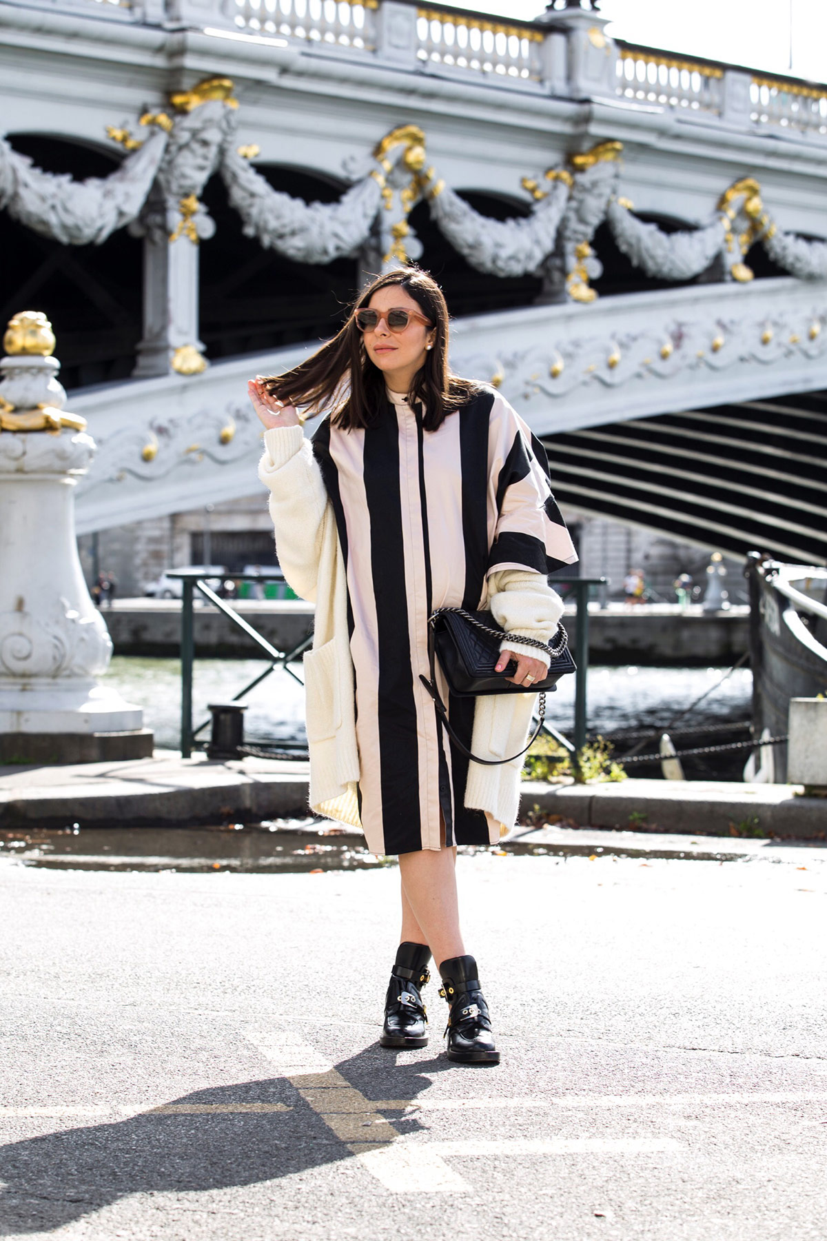 stripes and ruffles dress for Paris Fashion Week by Stella Asteria - Fashion & Lifestyle Blogger