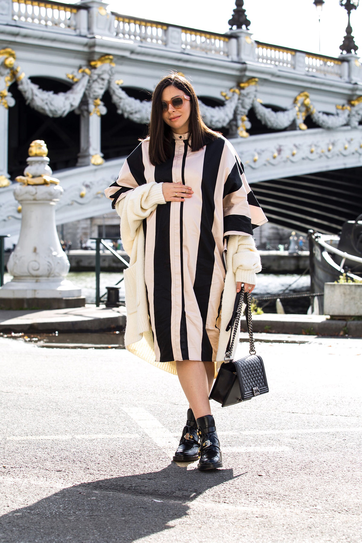 pregnancy style - stripes and ruffles dress for Paris Fashion Week by Stella Asteria - Fashion & Lifestyle Blogger