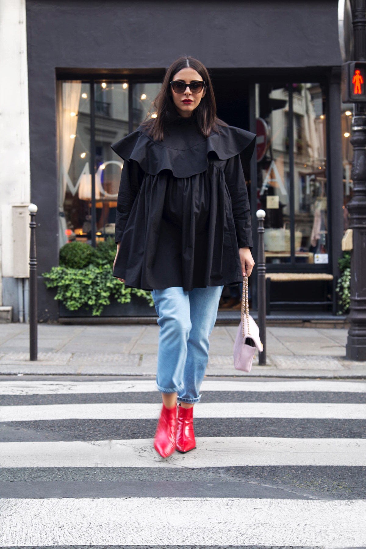 black frill shirt and red boots Stella Asteria at Paris Fashion Week SS18