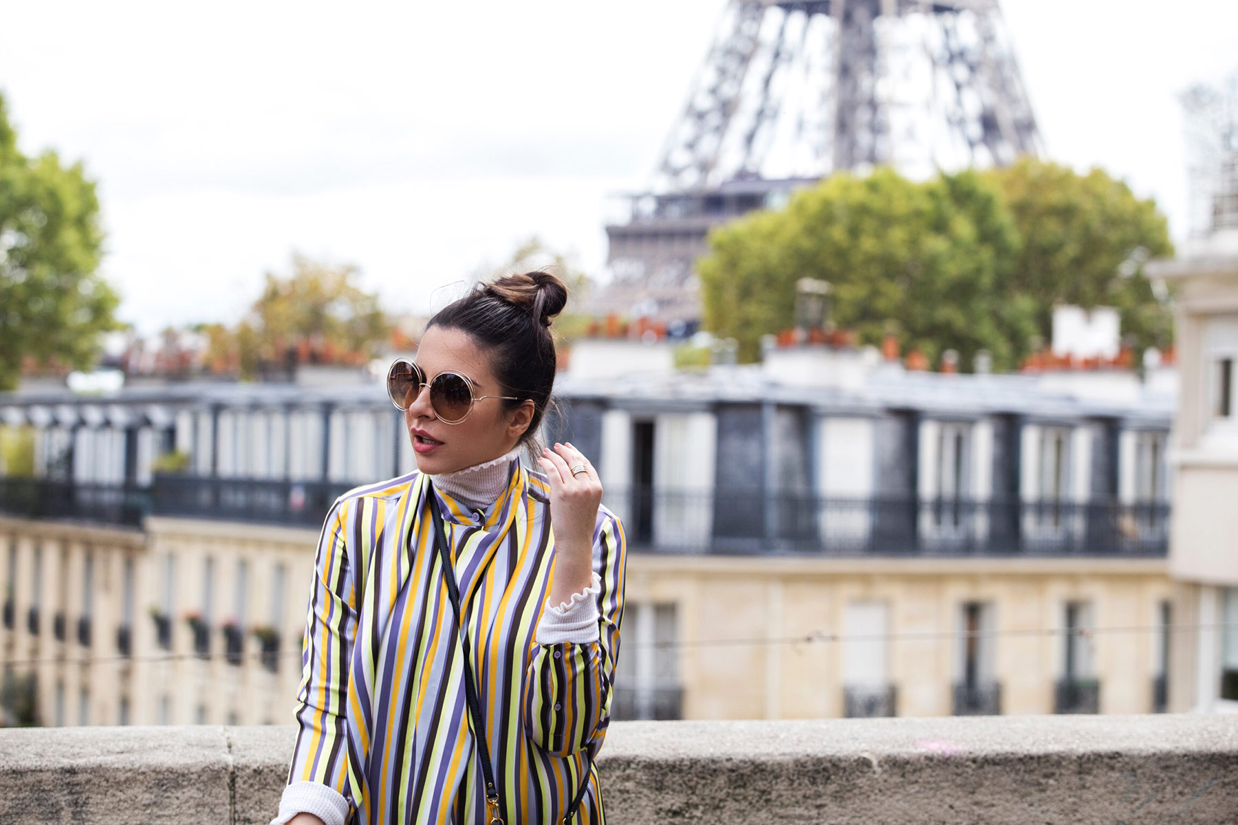 Stella Asteria wearing striped Acne dress & Chloe oversized sunglasses at Paris Fashion Week PFW SS'18