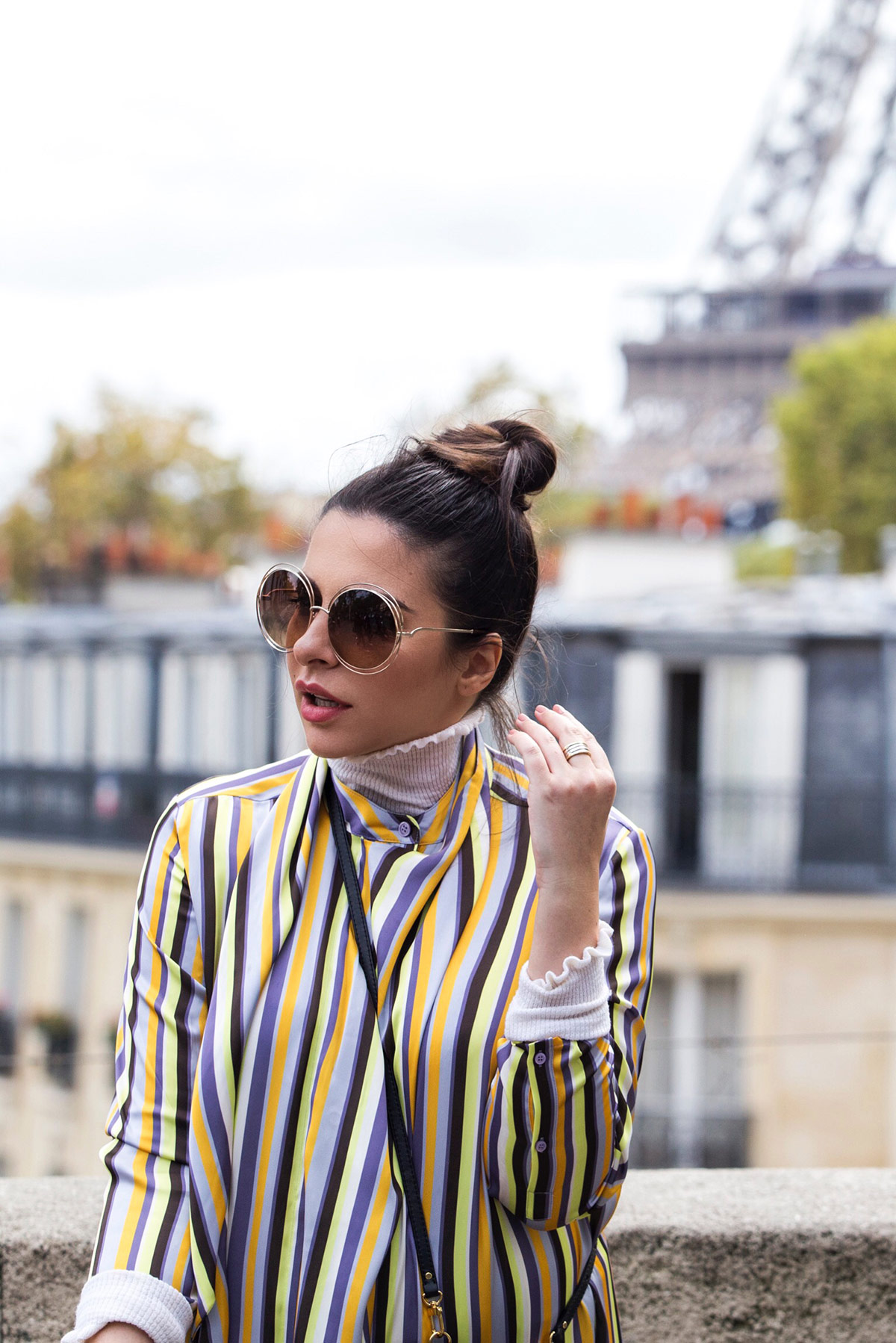 Striped Dress With Jeans & Statement Sunglasses At Paris Fashion Week