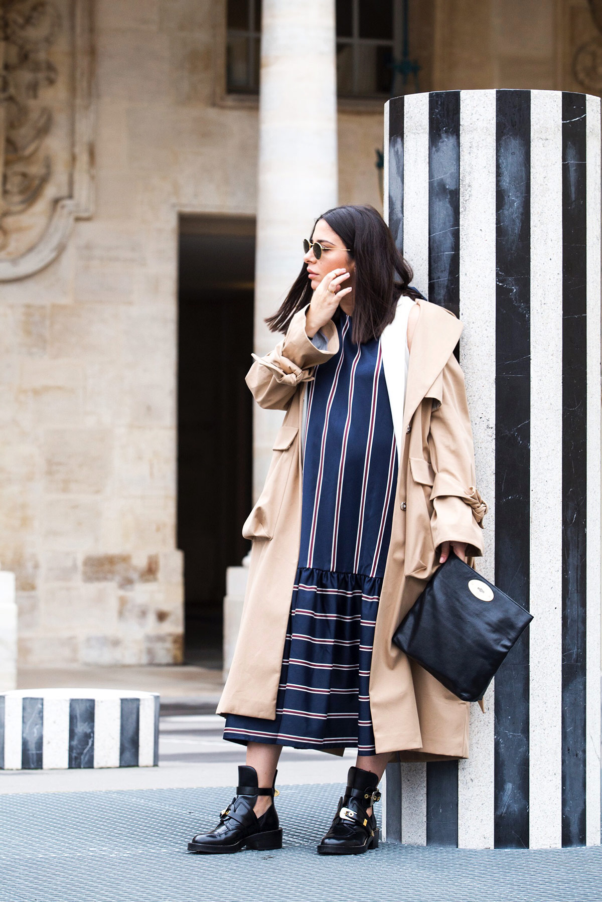 Stripes on stripes, trench coat and Balenciaga combat boots by Stella Asteria Fashion & Lifestyle Blogger during Paris Fashion Week - Paris Streetstyle and Pregnancy style inspiration - how to dress the bump in style