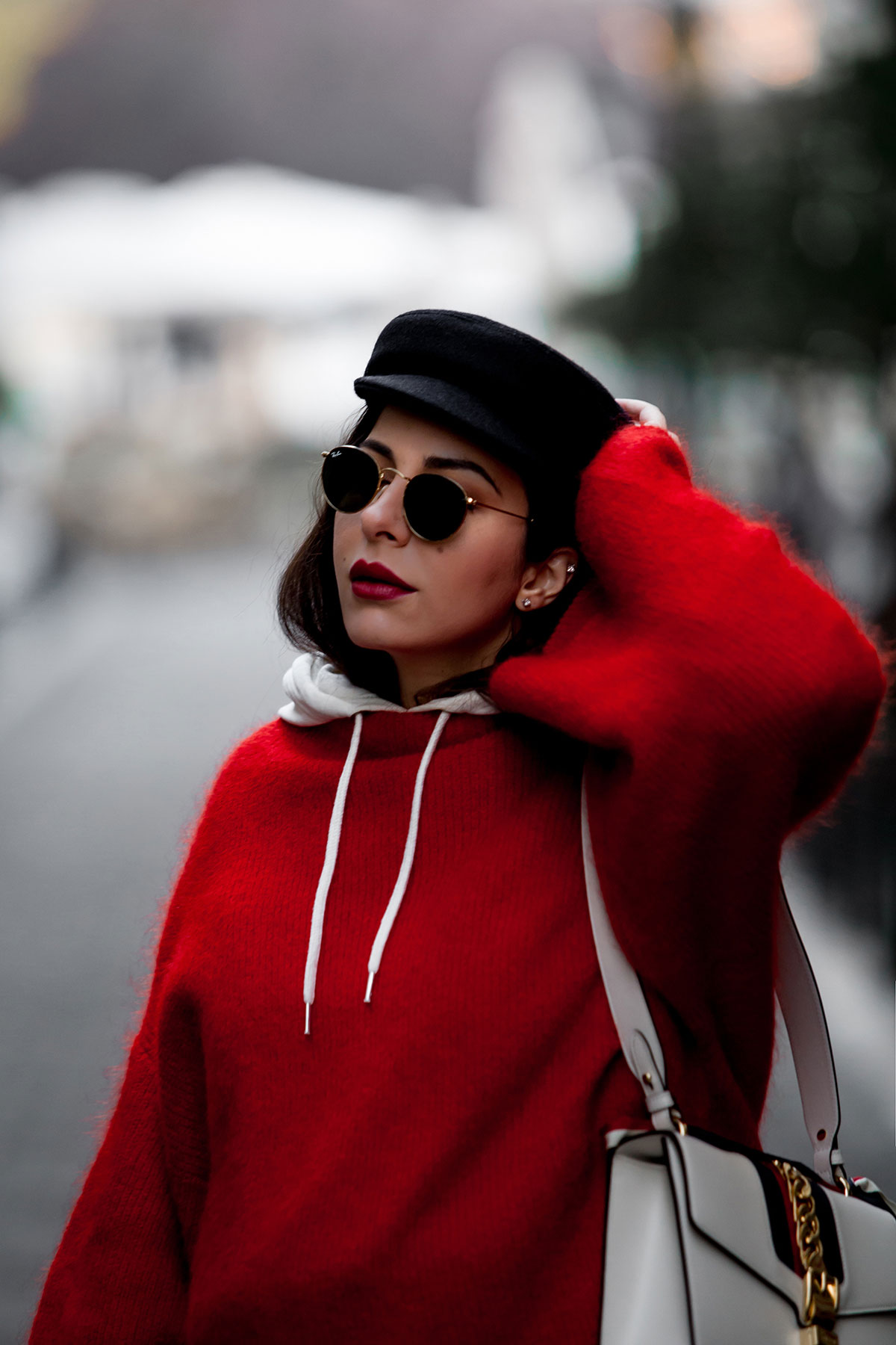 Red sweater, hoodie & baker boy hat worn by Stella Asteria, fashion & lifestyle blogger