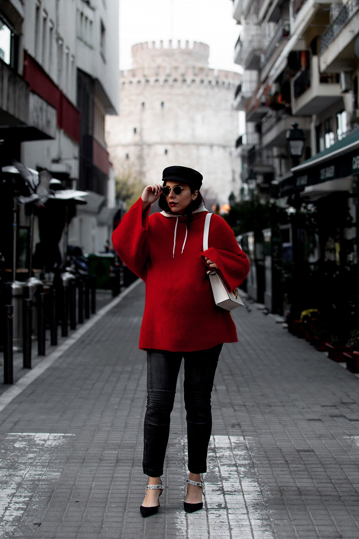 Red sweater, hoodie & baker boy hat with Gucci Sylvie bag, worn by Stella Asteria, fashion & lifestyle blogger - street style fashion
