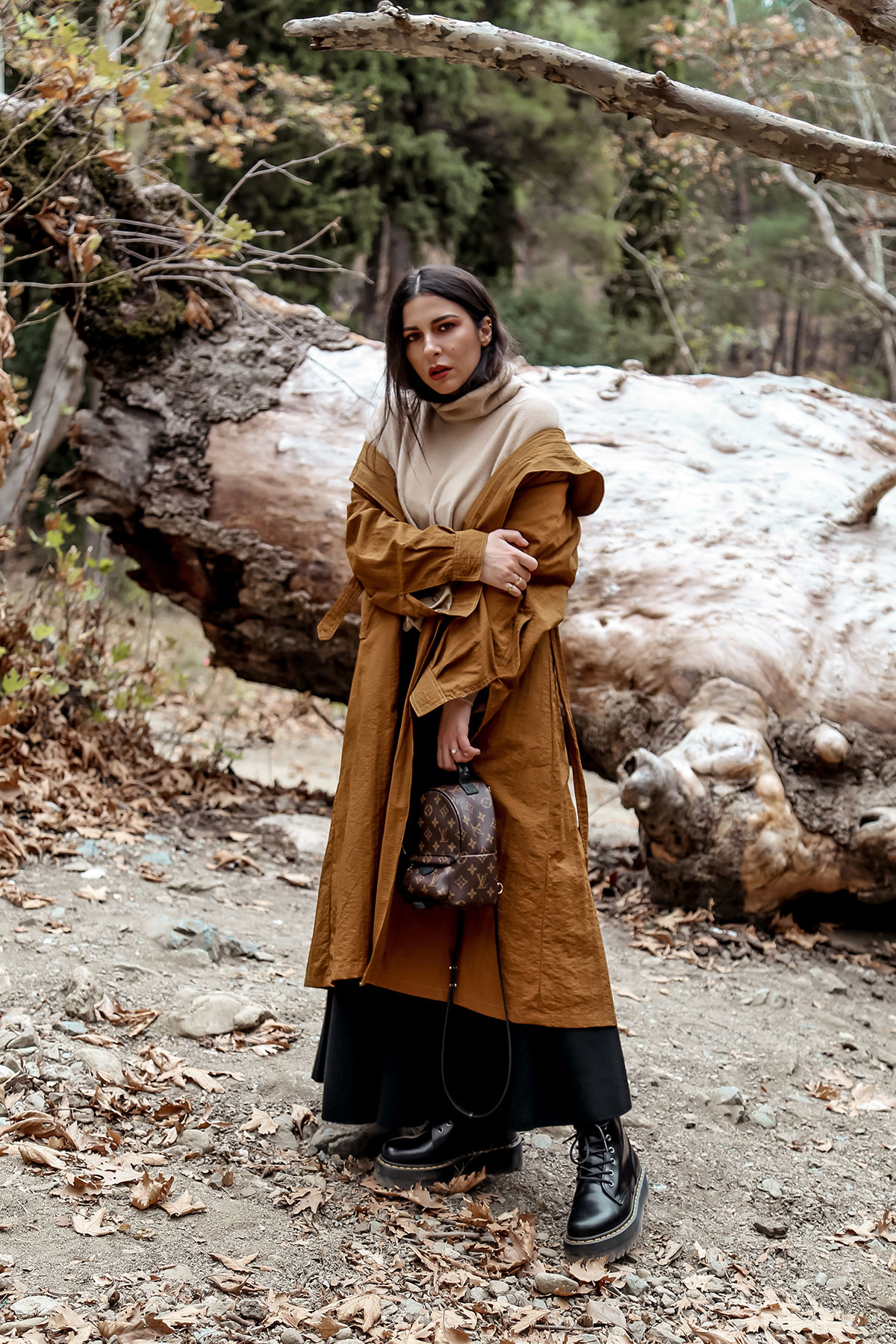 Trench coat and other favourite fall wardrobe staples by Stella Asteria - wearing turtleneck sweater with knit skirt and Dr Martens boots, vintage trench coat