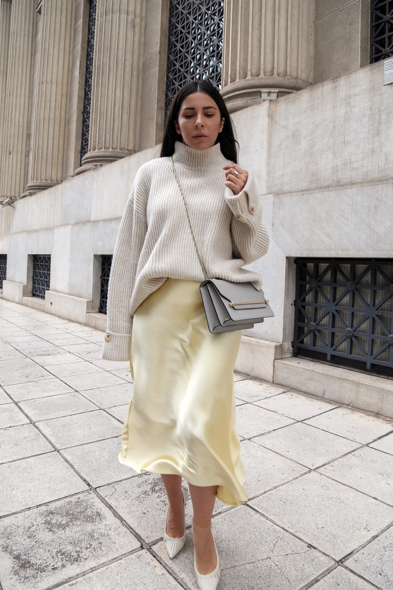 satin slip skirt & sweater