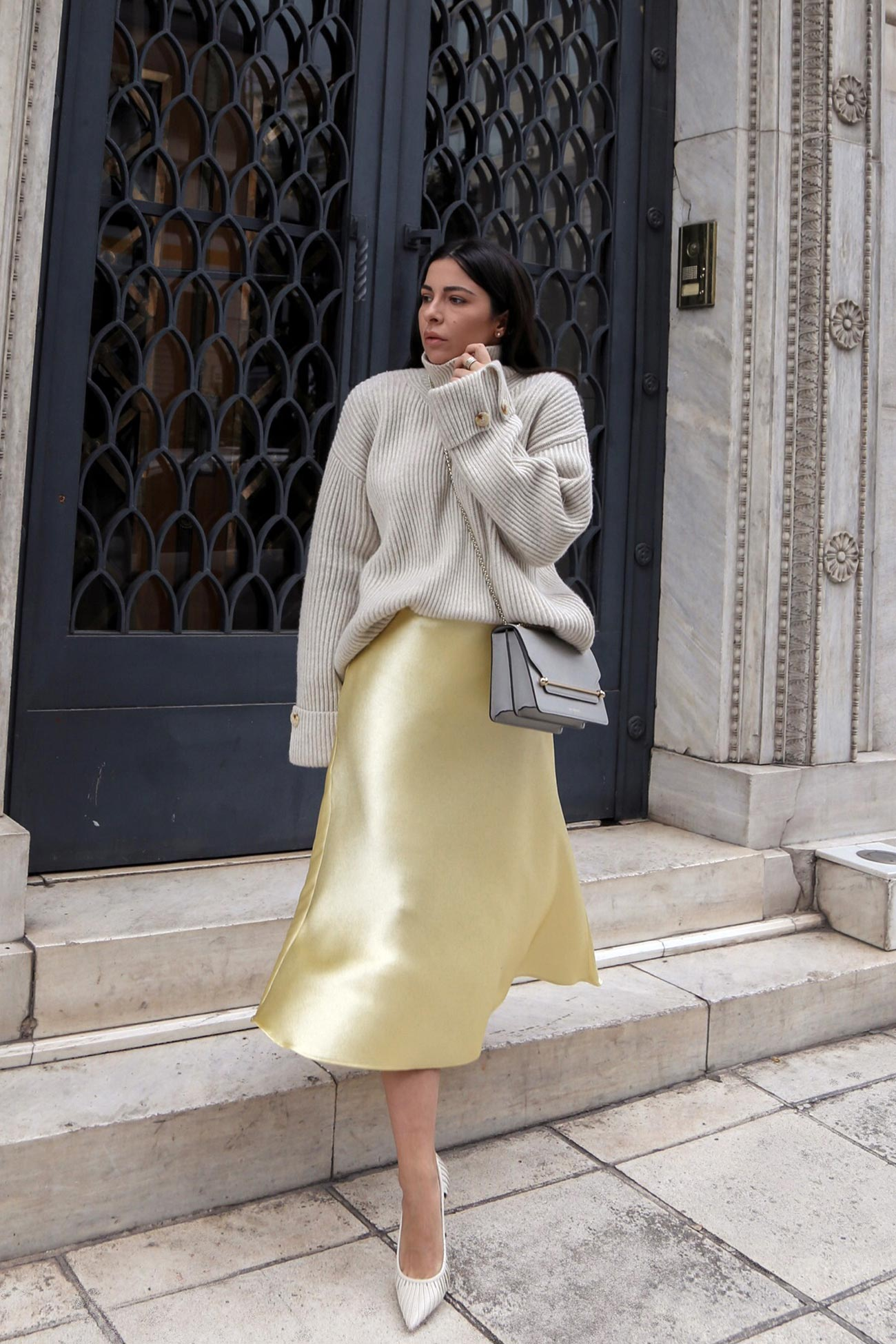 satin skirt and sweater