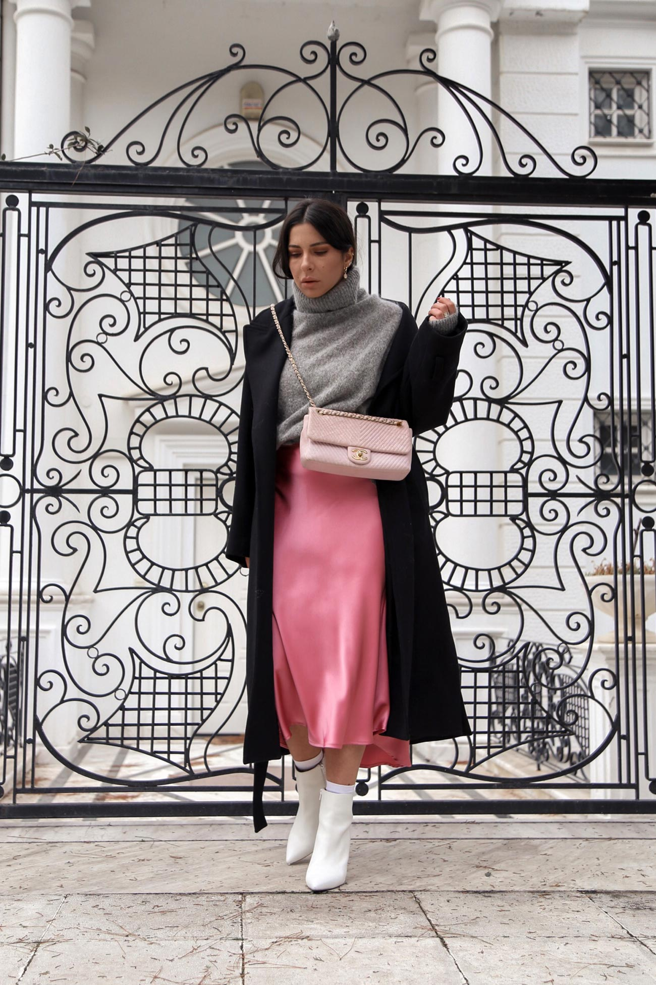 pink satin slip skirt and sweater
