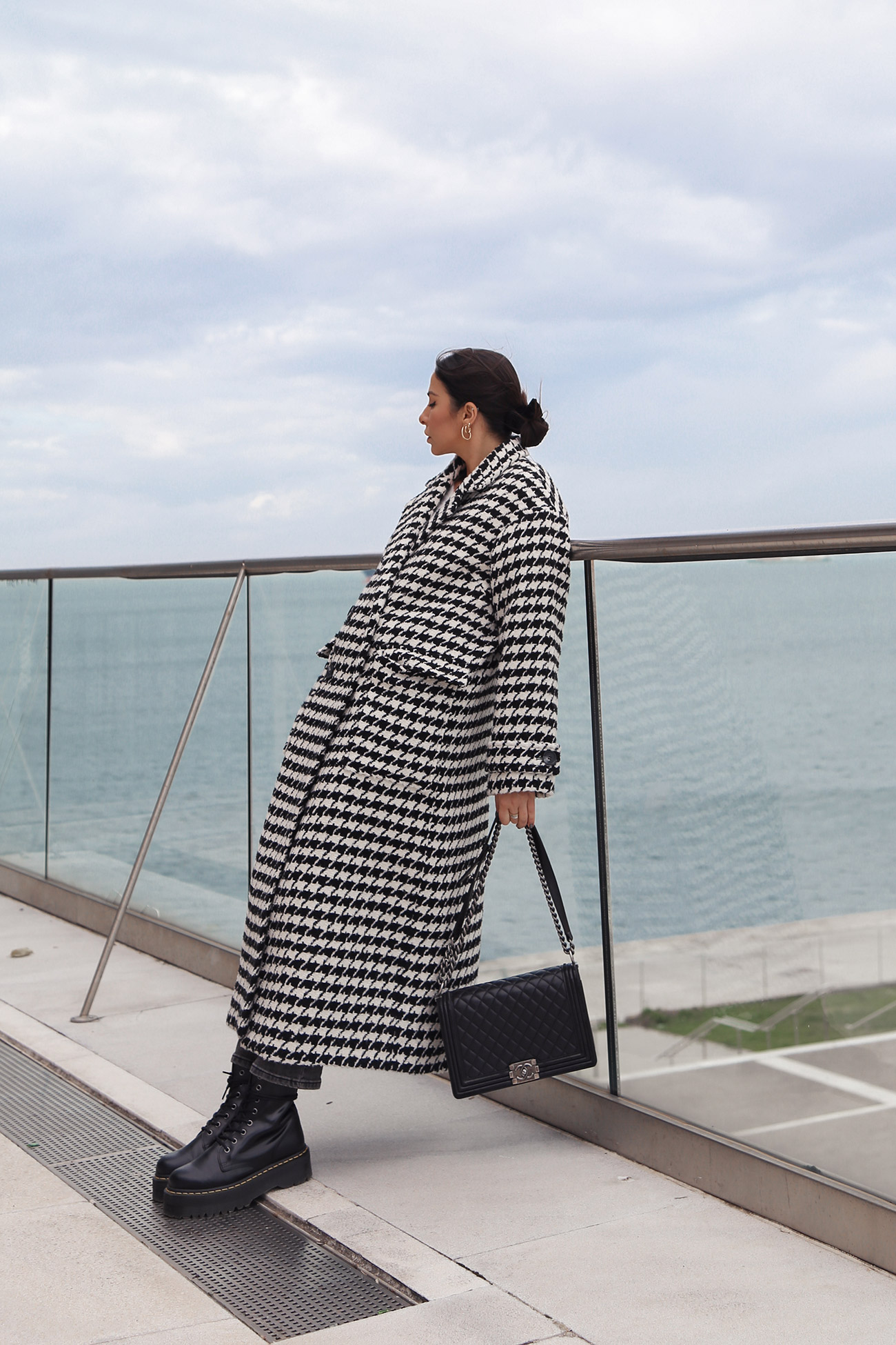 long black and white houndstooth coat