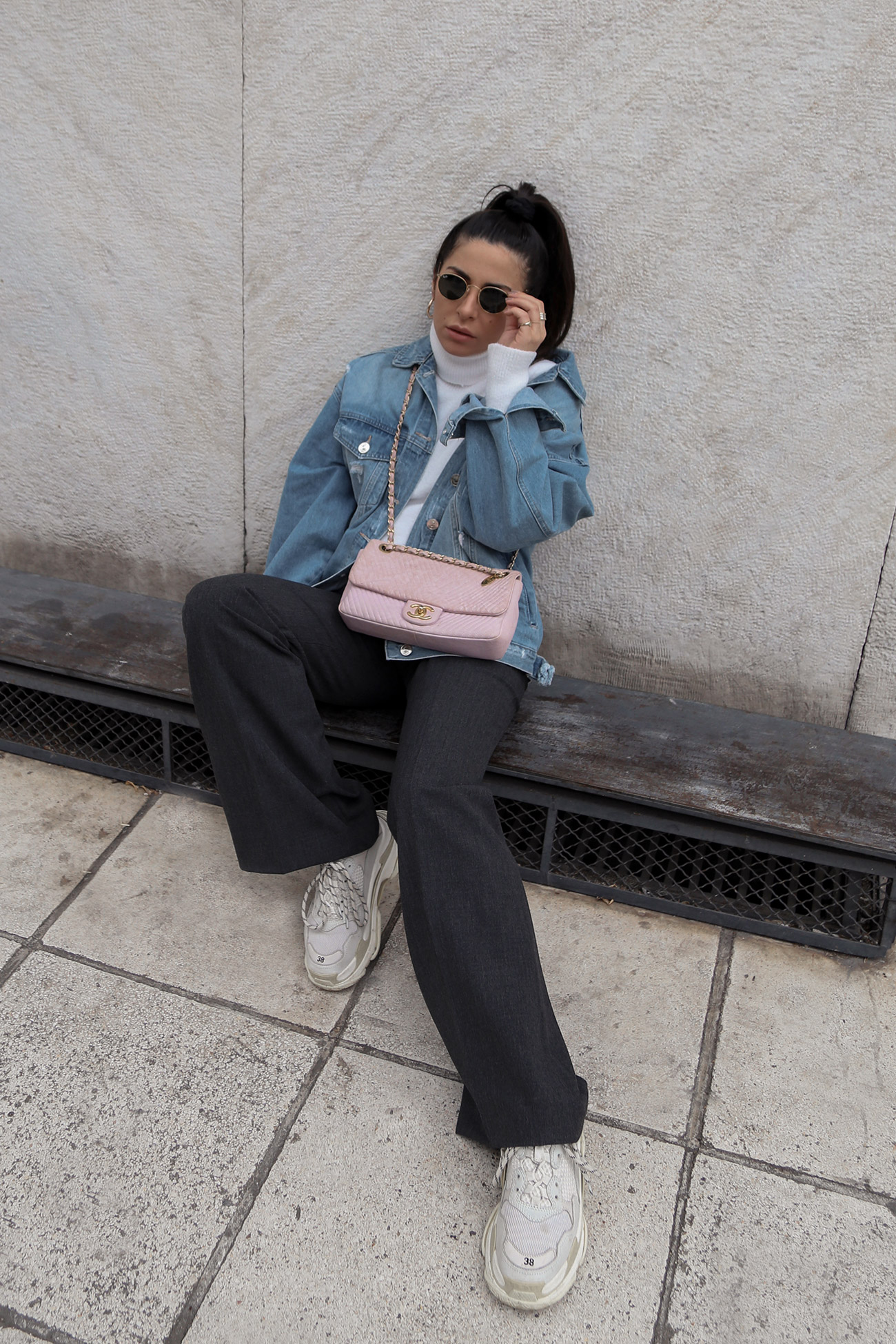 suit pants with denim jacket and sneakers by Stella Asteria