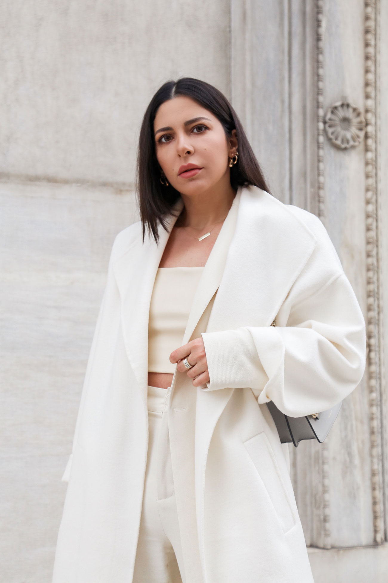 Layering a total white outfit by Stella Asteria