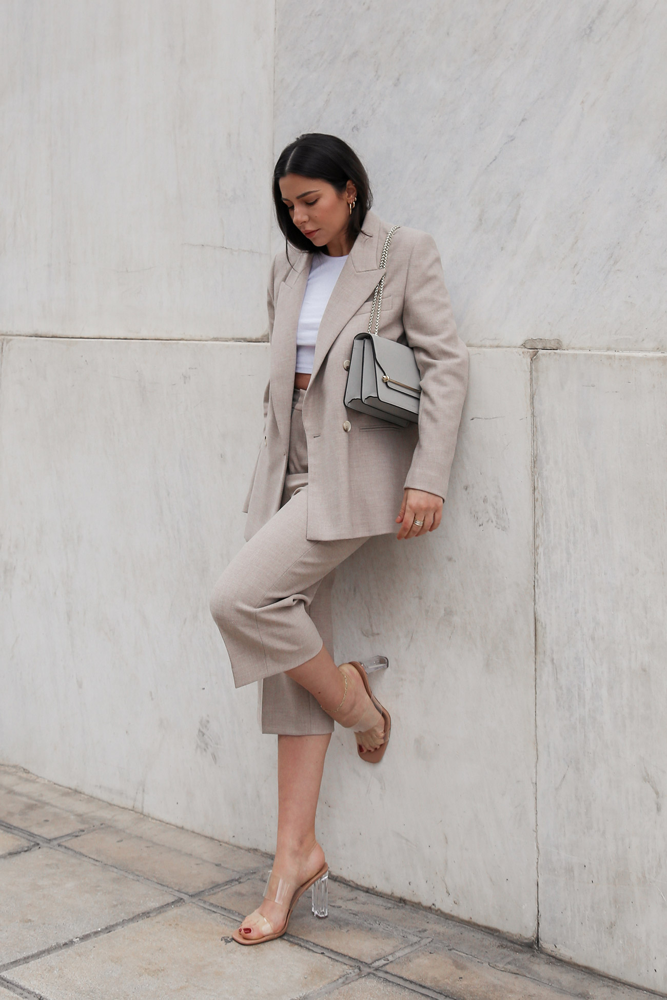 crop pants suit with mules and Strathberry bag, worn by Stella Asteria - Fashion & lifestyle blogger