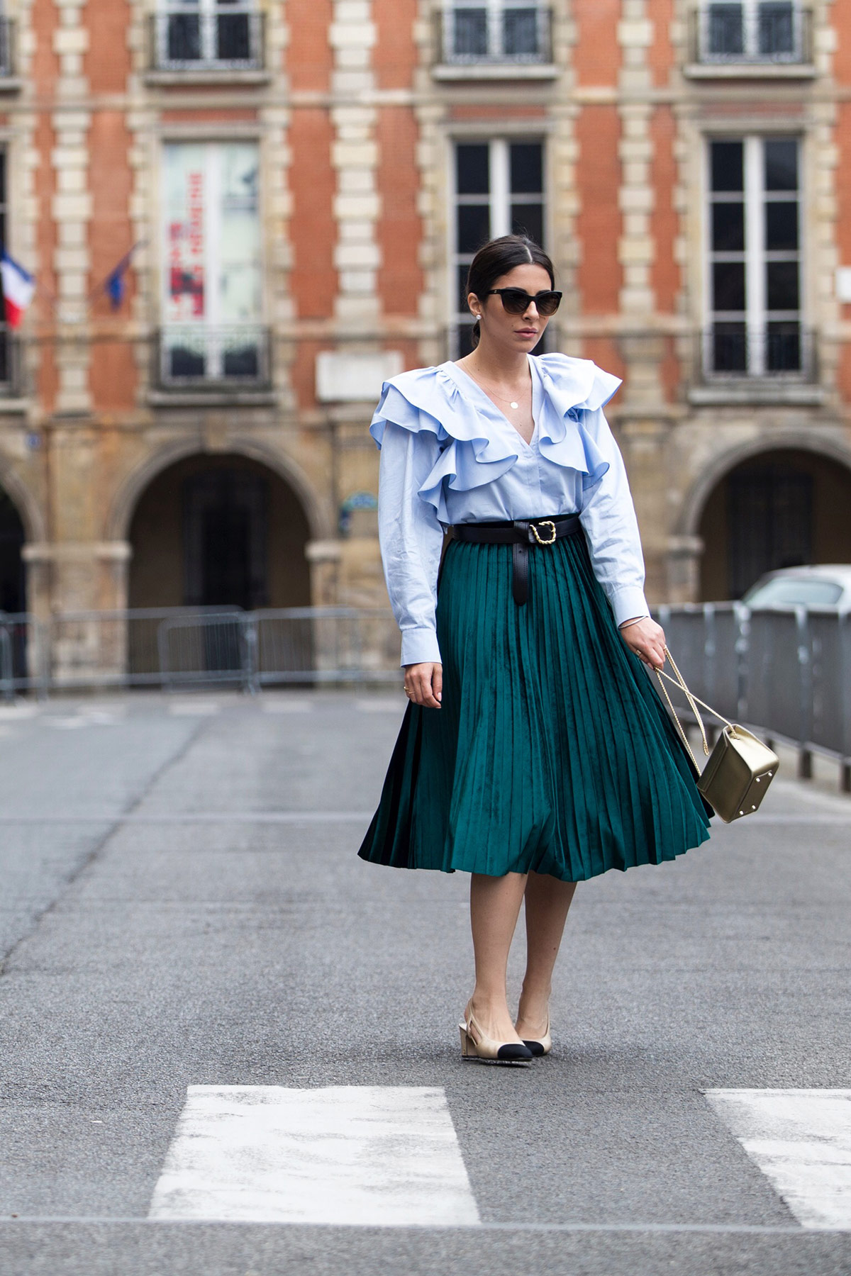 Green Pleated Skirt & Ruffle Blouse - Stella Asteria